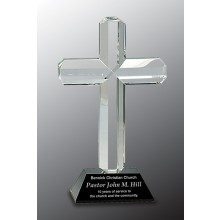 Crystal Cross on Black Pedestal Base