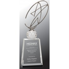 12 in. Clear/Black Crystal Award with Metal Oval Star
