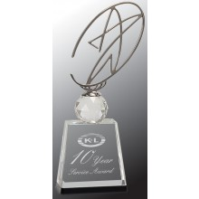 11 in. Clear/Black Crystal Award with Metal Oval Star