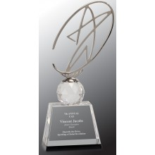 10 in. Clear/Black Crystal Award with Metal Oval Star