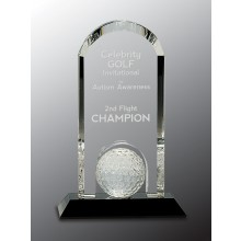 9 in. Clear Crystal Dome with Inset Golf Ball on Black Base