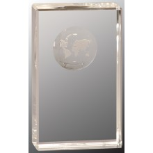 5 in. Crystal Rectangle with Globe Etching