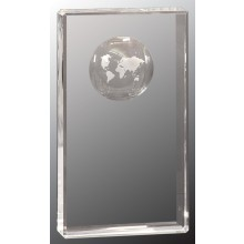 8 in. Crystal Rectangle with Globe Etching